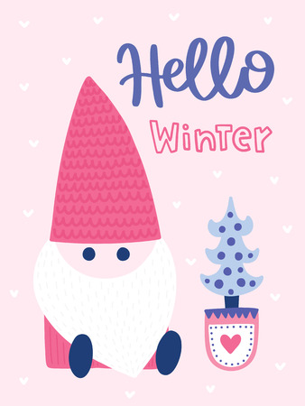 Colorful Christmas vector card. Lettering with illustration in сute childish style. Creative poster with phrase and Santa. Good for kids. Illustration
