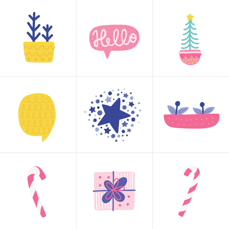 Doodles different Christmas elements. Color vector items. Illustration with new year decor. Design for prints and cards. Illustration