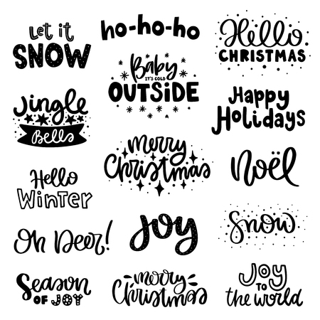 Vector collection with Christmas phrases and decor elements. Typography image with lettering. Different black quotes, design for t-shirt and prints.