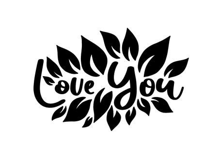Love you. Vector typography romantic poster, hand lettering calligraphy. Vintage illustration with text. Can be used as a print on t-shirts and bags, stationary or poster, banner or brochure.  イラスト・ベクター素材