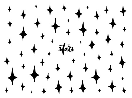 Set of black hand drawn vector stars in doodle style. Collection of isolated elements on white background. Could be used as pattern.