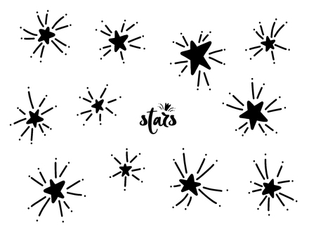 Set of black hand drawn vector stars in doodle style. Collection of isolated elements on white background. Could be used as pattern. Stockfoto - 120878641