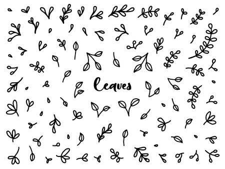 Vintage collection of hand drawn tree branches with leaves. Set of black isolated natural elements, herb silhouette for design seamless patterns, fabric, wrapping paper, wallpaper.