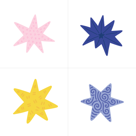 Set of color vector stars in doodle style. Collection of isolated elements on white background. Illustration