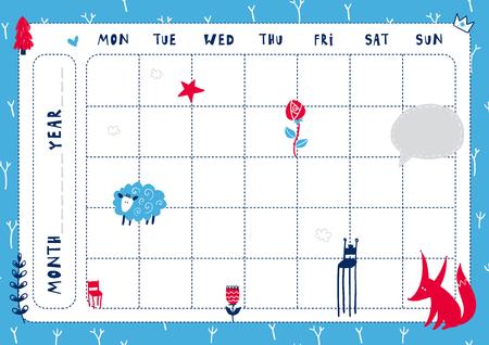 Modello di agenda giornaliera. Nota carta con illustrazioni divertenti. Perfetto per i bambini. Organizzatore e calendario con elementi magici. Vettoriali
