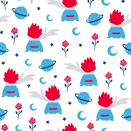 Fairytale cute seamless pattern. Color vector background with boy and rose. Illustration. Design for T-shirt, textile and prints. 向量圖像