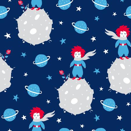 Märchenhaftes süßes nahtloses Muster. Farbvektorhintergrund mit Jungen und Planeten. Illustration. Design für T-Shirt, Textil und Drucke.