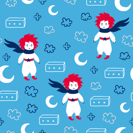 Fairytale cute seamless pattern. Color vector background with boy and box. Illustration. Design for T-shirt, textile and prints.