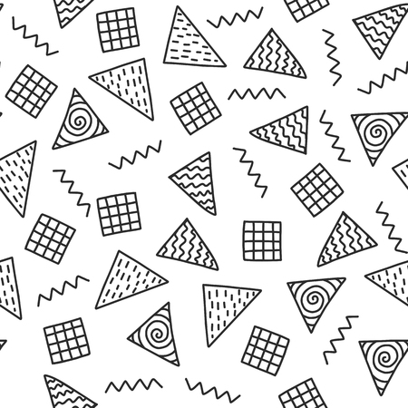 Seamless doodle pattern. Vector background with triangle and different elements. Design for prints, shirts and posters.