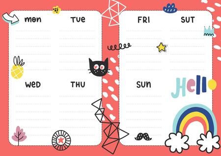 Plantilla de planificador diario. Papel de nota con ilustraciones divertidas. Perfecto para niños. Organizador y calendario con elementos de verano.