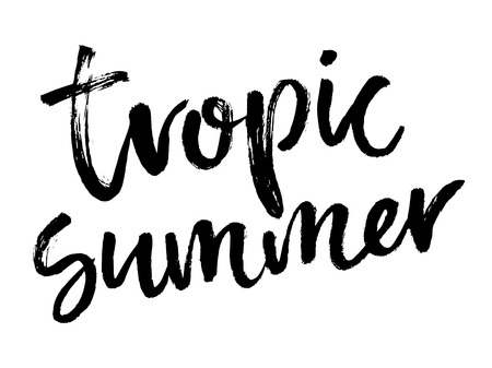 Composizione di scritte a pennello. Illustrazione vettoriale con frase disegnata a mano isolata su sfondo bianco. Estate tropicale. Vettoriali