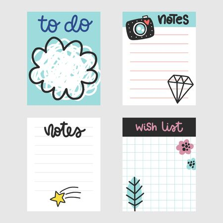 Summer vector to do lists collection. Colorful doodle notes with phrases and different elements.
