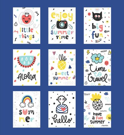 Summer vector cards collection. Colorful doodle  posters with phrases and different elements.