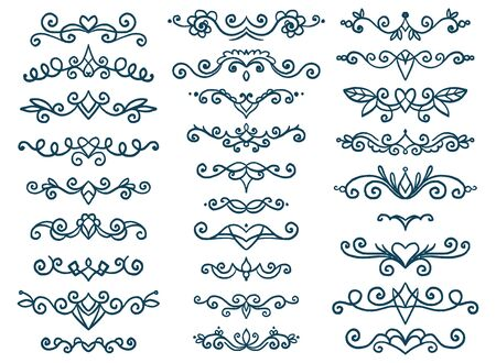 Set of vintage decorative elements. Vector isolated decoration collection. Hand drawn page decor.