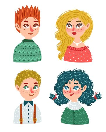 Collection of different men and women. Vector illustration with people on white background, hand drawn style.