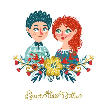 Hand drawn man and woman with floral bouquet and lettering. Vector isolated illustration with people. Colorful different leaves and flowers.