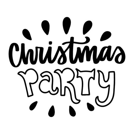 Christmas party. Vector quote and decor elements. Typography image with lettering. Black isolated phrase, design for t-shirt and prints. Stock fotó - 135166631