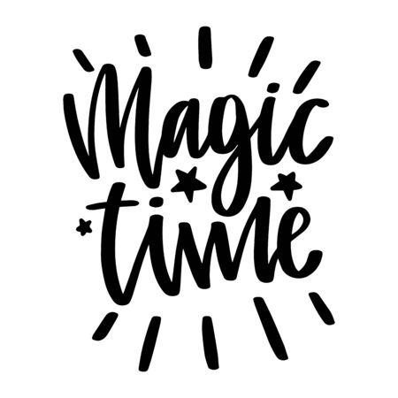 Magic time. Vector christmas quote and decor elements. Typography image with lettering. Black isolated phrase, design for t-shirt and prints. Stock fotó - 135166590