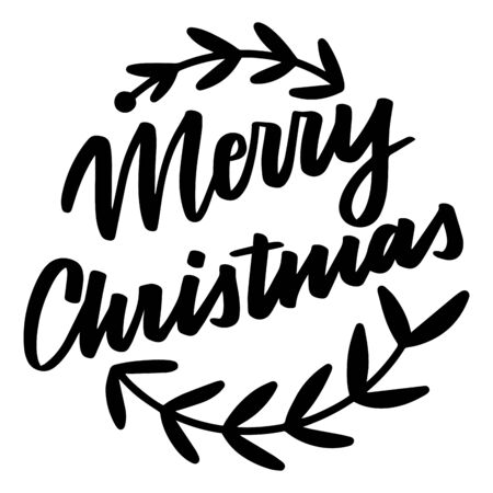 Merry Christmas. Vector quote and decor elements. Typography image with lettering. Black isolated phrase, design for t-shirt and prints. Stock fotó - 135166583