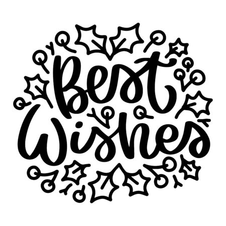 Best Wishes. Vector christmas quote and decor elements. Typography image with lettering. Black isolated phrase, design for t-shirt and prints. Stock fotó - 135166591