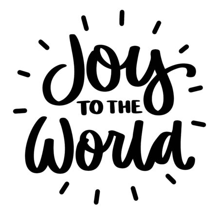 Joy to the world. Vector christmas quote and decor elements. Typography image with lettering. Black isolated phrase, design for t-shirt and prints. Stock fotó - 135166562