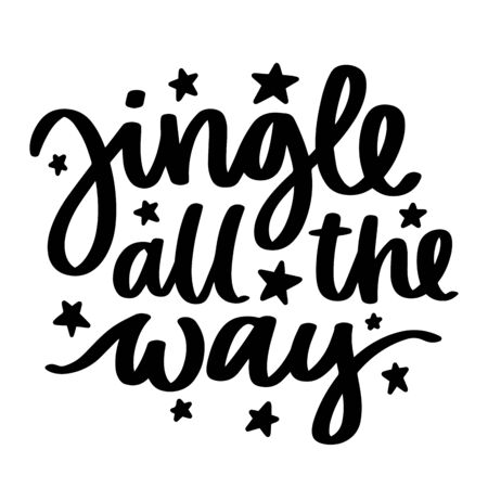 Jingle all the way. Vector christmas quote and decor elements. Typography image with lettering. Black isolated phrase, design for t-shirt and prints. Stock fotó - 135166592