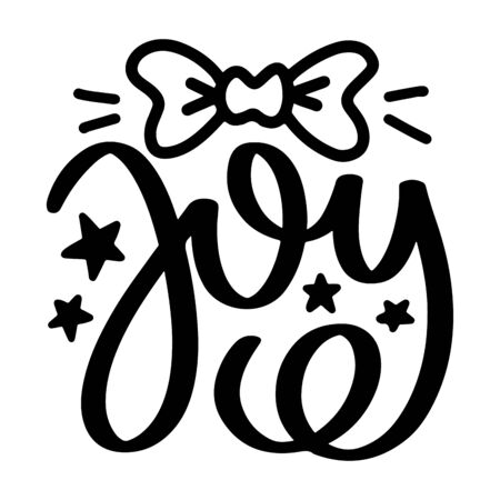 Joy. Vector christmas quote and decor elements. Typography image with lettering. Black isolated phrase, design for t-shirt and prints. Stock fotó - 135166557
