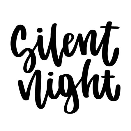 Silent night. Vector christmas quote and decor elements. Typography image with lettering. Black isolated phrase, design for t-shirt and prints. Stock fotó - 135166574