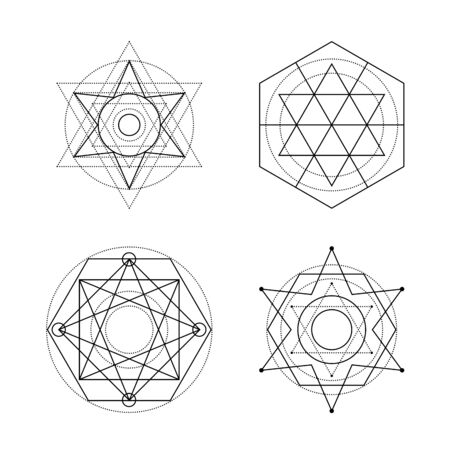 Sacred geometry vector symbols on white background. Black abstract mystic signs collection. Isolated spiritual combinations of circles and triangles. Stock Illustratie