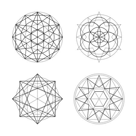 Sacred geometry vector symbols on white background. Black abstract mystic signs collection. Isolated spiritual combinations of circles and triangles.