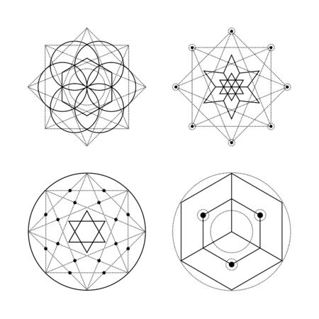 Sacred geometry vector symbols on white background. Black abstract mystic signs collection. Isolated spiritual combinations of circles and triangles. 向量圖像