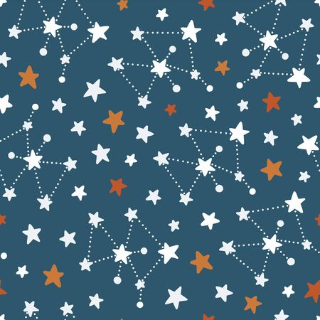 Stars and constellations, seamless pattern.