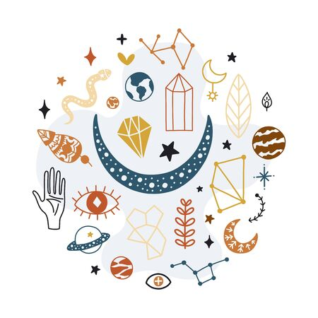 Magical vector background with decorative elements 向量圖像