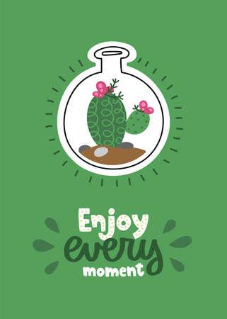 Cactus vector card. 向量圖像