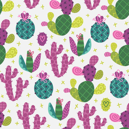 Seamless cactus pattern 向量圖像