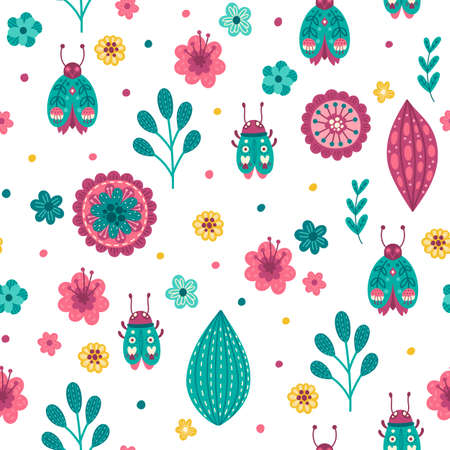Colorful pattern with insects and flowers 向量圖像