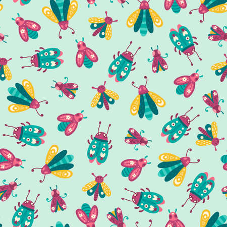 Colorful pattern with insects