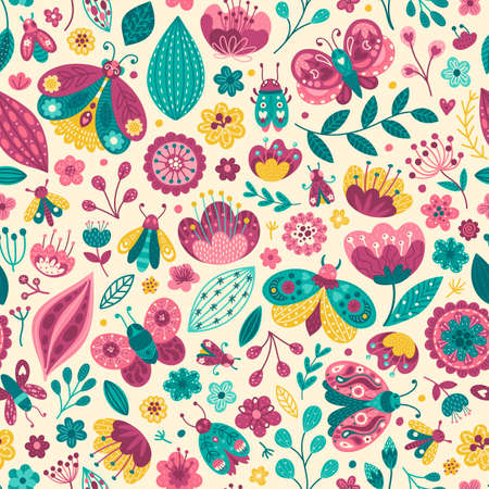 Colorful pattern with butterflies