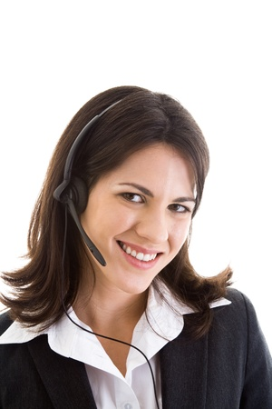 Young Caucasian woman wearing a telephone headset Stock Photo - 8932010