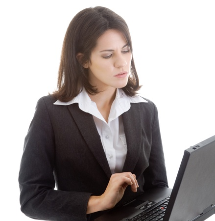 Caucasian Woman Working on Laptop Isolated White Background Stock Photo - 8932007