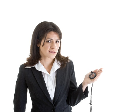 Worried Caucasian Woman Holding Compass Looking At Camera White Background Stock Photo - 8932002