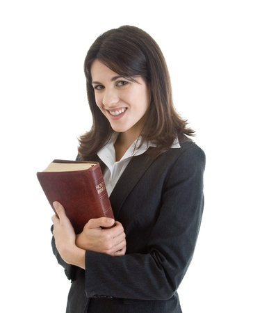 clutching: Smiling Caucasian Woman Holding Bible Closely Isolated White Background Stock Photo