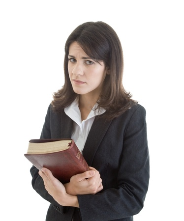 Sad Caucasian Woman Holding Bible Isolated White Background Stock Photo - 8932006