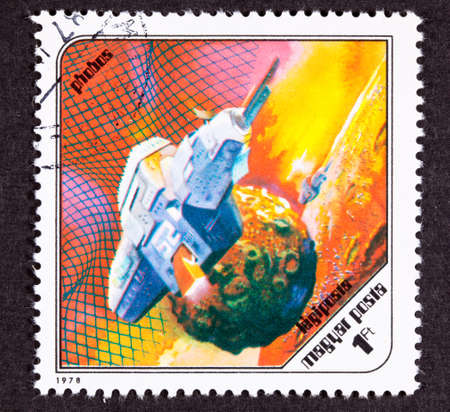 canceled: Canceled Hungarian airmail postage stamp space ship around Phobos the Martian moon