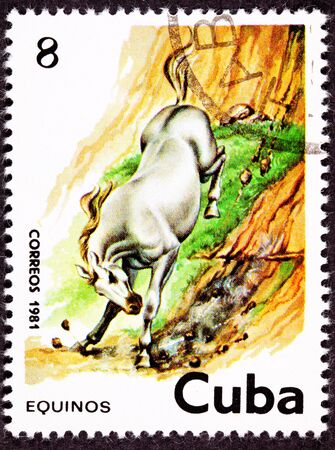 canceled: Canceled Cuban Postage Stamp White Horse Running Down Steep Hillside Stock Photo