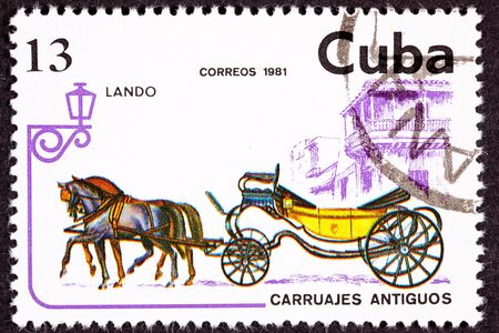 Horse Team Pulling Convertible Landau Carriage.  Luxury carriage designed to show off the occupants to those outside the carriage with its low sideboards. Stock Photo - 9011606