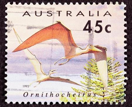 canceled: Canceled Australia Australian Postage Stamp Bird Like Ornithocheirus Pterosaur Flying Dinosaur