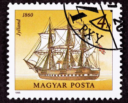 commemorative: Stamp showing the Danish warship Jylland, which was both a steam and sail powered ship.  She fought in the Battle of Heligoland on 9 May 1864 against the Austrian-Prussian fleet.  She was the last screw-propelled steam frigate.