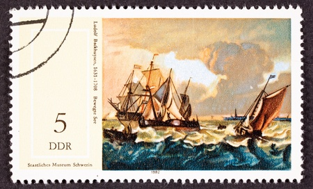 seas: Ludolf Backhuysens 1660 painting Boats on Rough Seas found on an East German Postage Stamp.  Ludolf Bakhuizen (or Backhuysen) (Dec 28, 1630 - Nov 17, 1708) was a German-born Dutch Golden Age painter