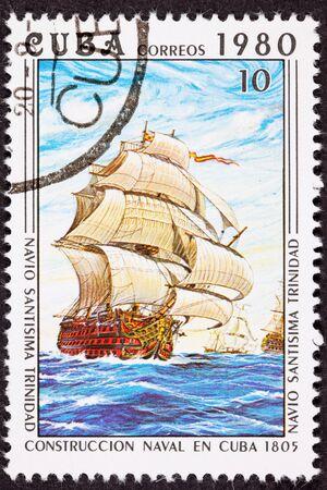 perforated: Cuba Postage Stamp Sant&iacute,sima Trinidad Ship of the Line